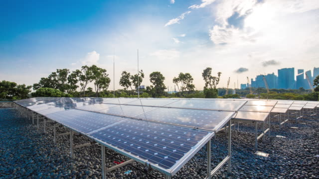 solar panels near bay in singapore. time lapse - bay of water stock videos & royalty-free footage