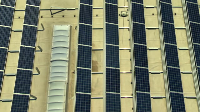 AERIAL Solar Panels On A Commercial Building