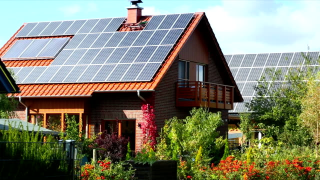 solar panels on a roof - roof stock videos & royalty-free footage