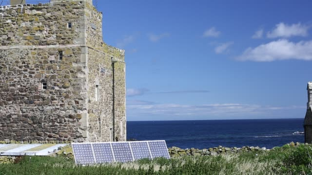 solar panels on the farne islands off the northumberland coast, powering all the electric needs, uk. - northumberland video stock e b–roll
