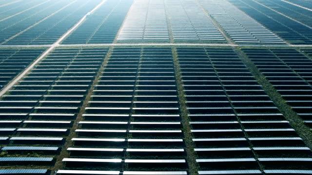stockvideo's en b-roll-footage met zonnepanelen rij na rij van futuristische technologie voor het aandrijven van onze planeet door klimaatverandering - sustainable resources
