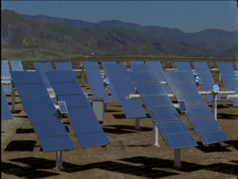 Solar panels slowly rotate to track sun Spain