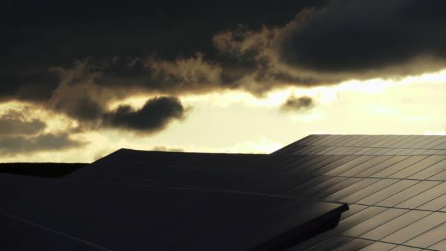 HD Solar Park at Sunset Time Lapse