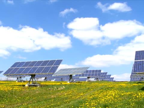 Solar park in spring time lapse