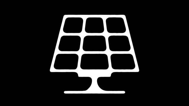 solar power generation blackboard linie animation mit alpha - fuel and power generation stock-videos und b-roll-filmmaterial