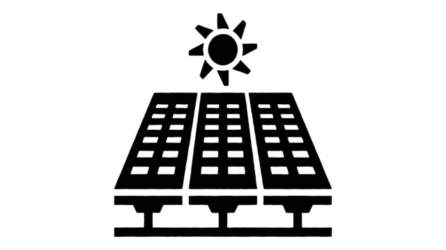 solar power generation line drawing & ink splatter reveal animation with alpha - climate icon stock videos & royalty-free footage