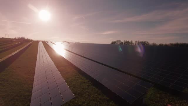 AERIAL Solar Power Station In The Evening Sun (4K/UHD)