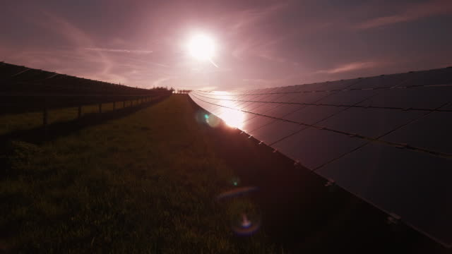 Solar Power Station In The Evening Sun