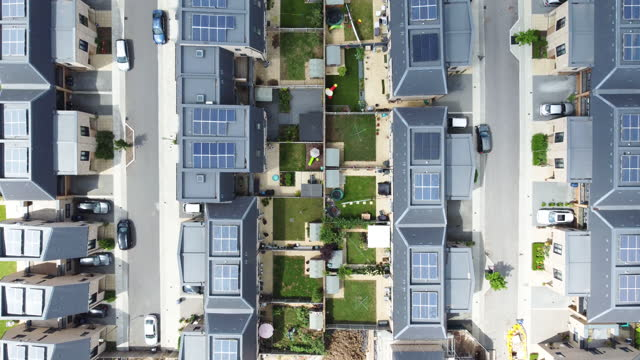solar powered housing - aerial view stock videos & royalty-free footage