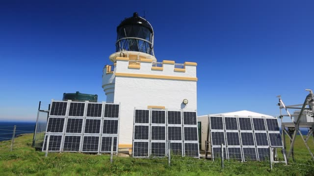 a solar powered lighthouse on brough head orkney scotland uk - solar panels stock videos & royalty-free footage