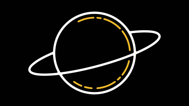 Solar System Planets Line Icon Animation with Alpha