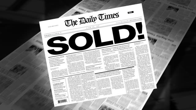 sold! - newspaper headline (intro + loops) - auction stock videos and b-roll footage