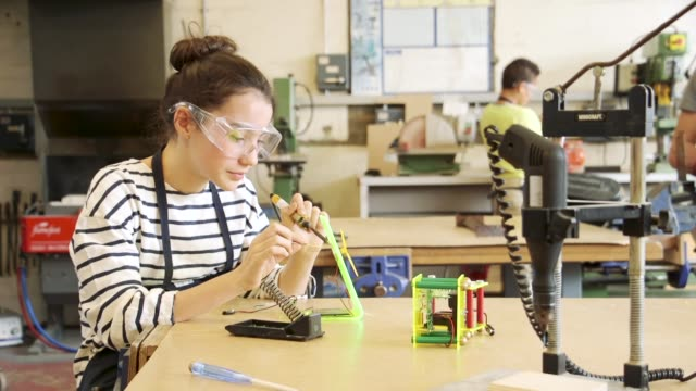 soldering in a lesson - secondary school stock videos & royalty-free footage
