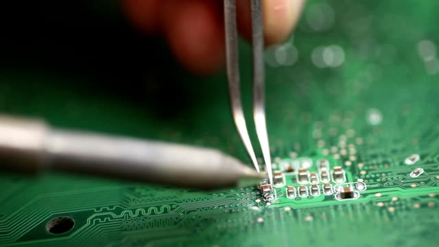 soldering on pcb - computer chip stock videos & royalty-free footage