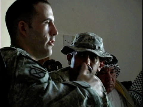 US soldier and translator talking to sheiks about Concerned Local Citizens volunteer program / Haswa Iraq / AUDIO