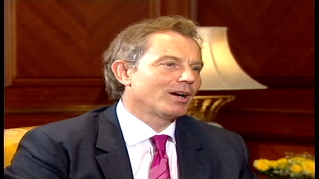 us soldier executed / three us marines killed / nato summit pool istanbul tony blair mp and george w bush at nato summit tony blair mp interview sot... - tony blair stock-videos und b-roll-filmmaterial