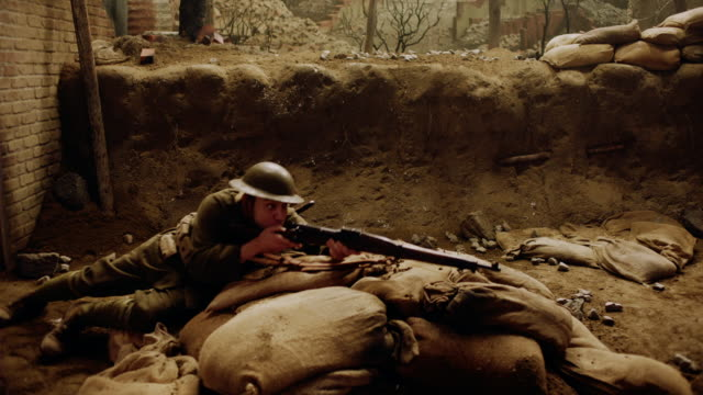 ds ms soldier fighting in a trench - trench stock videos & royalty-free footage