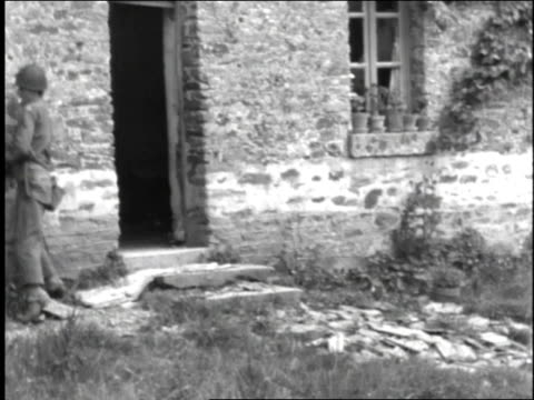 soldier fires a pistol into a home's windows - 1944 stock videos and b-roll footage