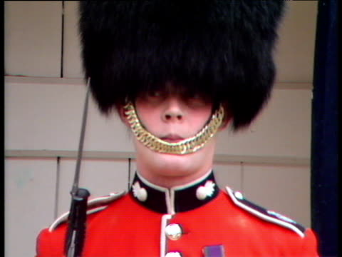 soldier from grenadier regiment of foot guards stands to attention queen mother's 88th birthday celebrations clarence house; 04 aug 88 - bajonett stock-videos und b-roll-filmmaterial