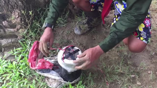 A soldier from Myanmar's military finds a homemade bomb the army say is the work of militants in strife torn western Rakhine state