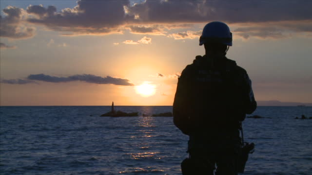 MS Soldier observing sunset / Haiti