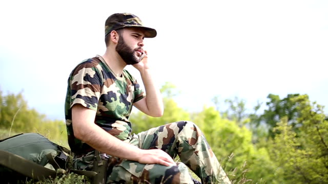 Soldier on the phone