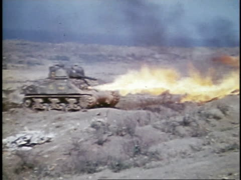 soldier operating operating tank-mounted flame throwers / iwo jima, japan - iwo jima island stock videos & royalty-free footage