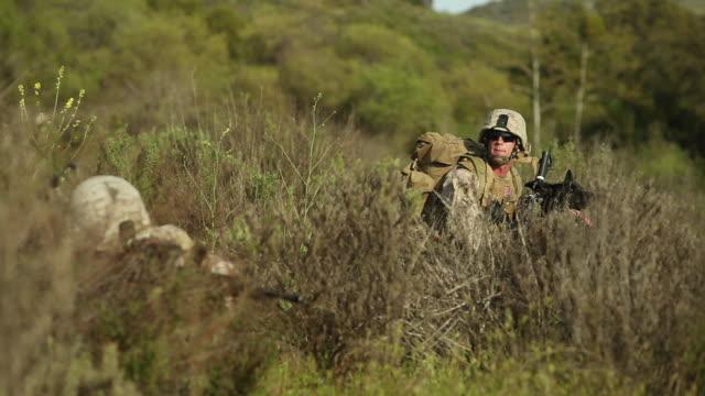 MS Soldier pointing gun toward through tall grass AUDIO / Camp Pendleton, CA, United States
