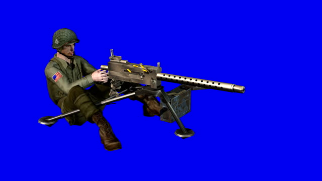 USA Soldier Shooting Blue Screen (Loopable)