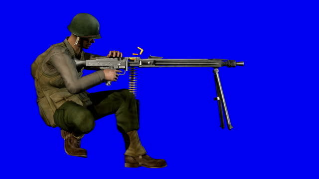 soldier shooting blue screen (loopable) - ammunition stock videos and b-roll footage