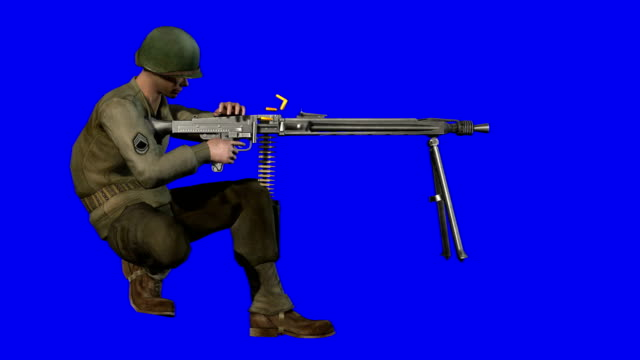 Soldier Shooting Blue Screen (Loopable)