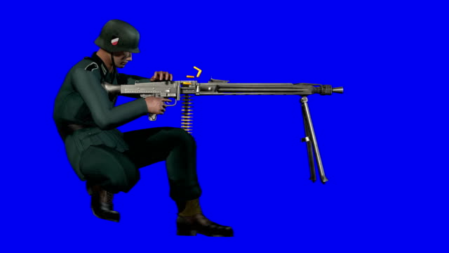 soldier shooting blue screen (loopable) - nazism stock videos & royalty-free footage