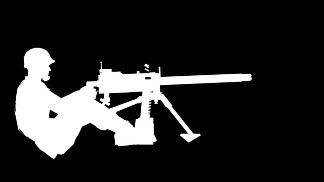 soldier shooting silhouette (loopable) - machine gun stock videos and b-roll footage