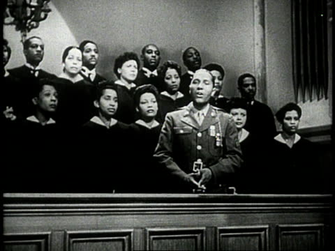 1944 ws soldier soloist singing in church choir during service / usa - soloist stock videos & royalty-free footage