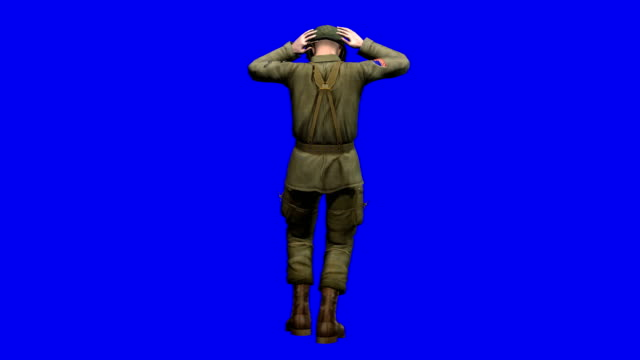 soldier surrendering blue screen (loopable) - battle stock videos and b-roll footage
