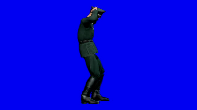 soldier surrendering blue screen (loopable) - nazism stock videos & royalty-free footage