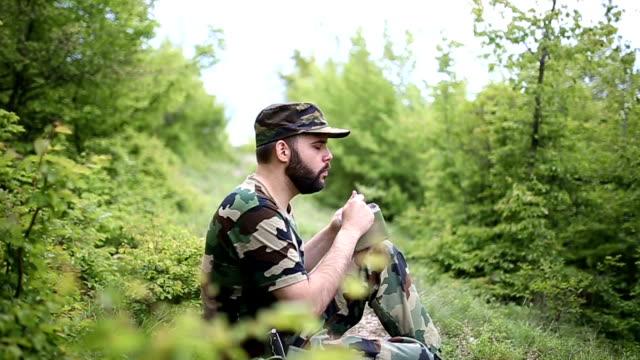 Soldier taking a break