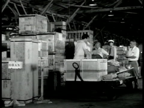 soldier talking w/ terminal guard w/ clipboard. int men organizing cargo boxes crates. men weighing boxes on scale. worker moving box onto flat... - on air sign stock videos & royalty-free footage