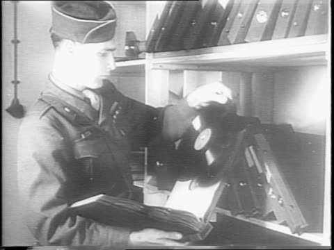 vidéos et rushes de soldier walks through interior of tunnel in hitler's home and opens several doors as he walks through / soldier enters room which was wrecked by... - 1945