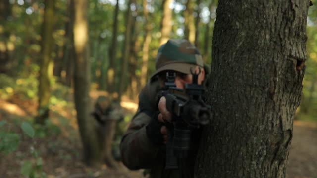 soldier with a shotgun - shotgun stock videos & royalty-free footage