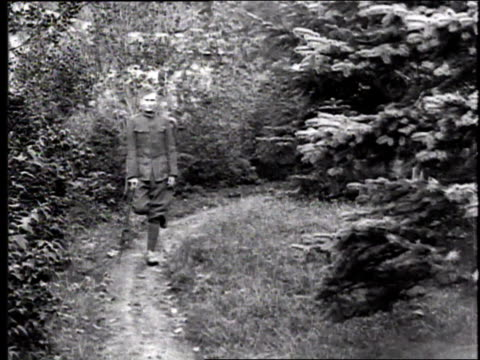 vidéos et rushes de ws soldier with leg injury and a cane stumbling along a woodland path / france - world war 1