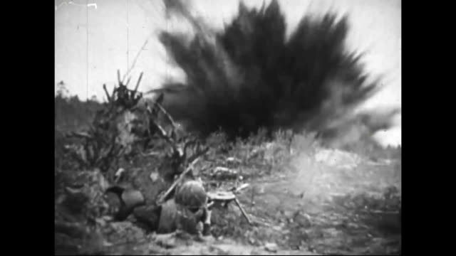 soldiers advancing across a field / shell exploding / tanks advancing / guns firing artillery shells / soldier firing machine gun / soldier crawling... - artiglieria video stock e b–roll