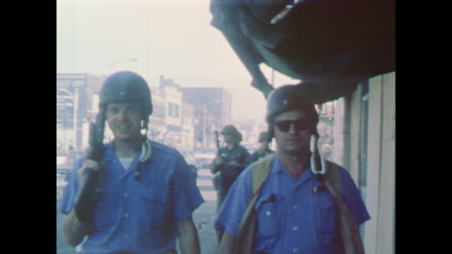 soldiers and armed police patrol the streets - 1967 stock videos & royalty-free footage