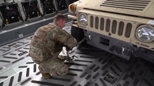 soldiers and equipment from the 591st military police company arrive via c17 airlift in lackland air force base texas in support of operation... - lackland air force base stock videos and b-roll footage