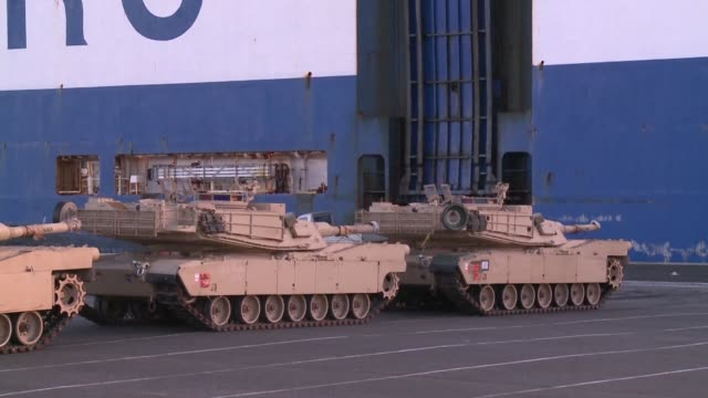 soldiers and military equipment arrive in the german city of bremerhaven ahead of operation atlantic resolve a range of military exercices by major... - operation atlantic resolve stock videos & royalty-free footage