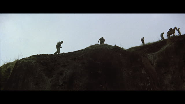 vidéos et rushes de ws soldiers and pack mules along crest of high mountain  - animaux au travail