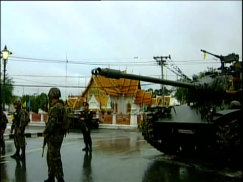 soldiers and tanks patrol streets following military coup bangkok 20 sep 06 - coup d'état stock videos & royalty-free footage