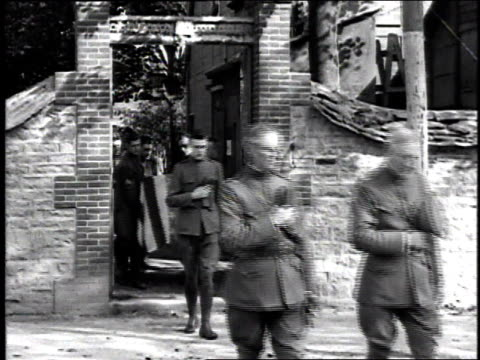 ws soldiers as pall bearers carrying a casket during a funeral procession / france - 1918 stock videos and b-roll footage