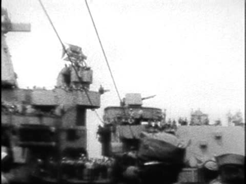 w ha pan composite soldiers being transferred onto neighboring vessel during japanese surrender - japanese surrender stock videos and b-roll footage
