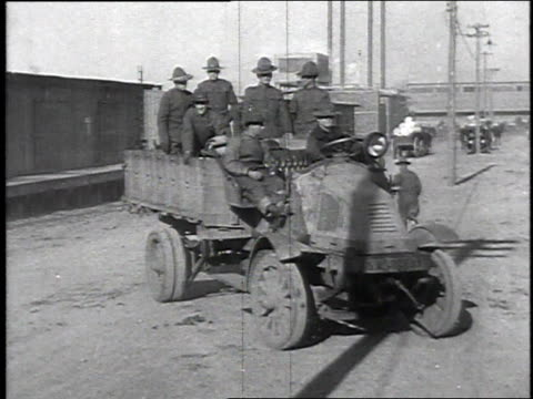 soldiers being transported in military truck / camp sherman chillicothe ohio united states - chillicothe stock videos & royalty-free footage